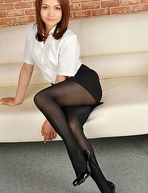 Rina Itoh in office outfit has sexy legs in stockings