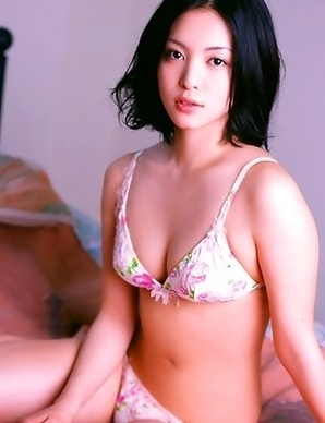 Saucey little asian  Mayuko Iwasa vixen laying around in cotton lingerie