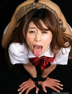 Schoolgirl Akina Miura is tied up and gets the shit fucked out of her face.